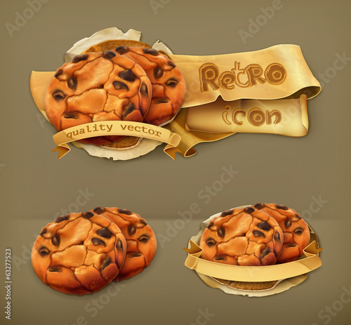 Chocolate cookies, retro vector icon