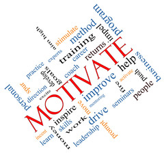 Motivate Word Cloud Concept Angled