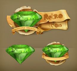 Emerald green, retro vector icon