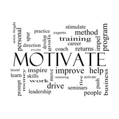 Motivate Word Cloud Concept in black and white