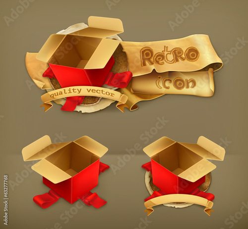 Empty gift box, retro vector icon