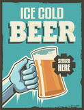 Retro Beer Poster. Vintage vector design sign