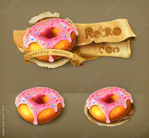 Glazed ring doughnut, retro vector icon