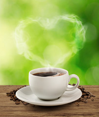 Smoke sweet heart coffee with clipping path.