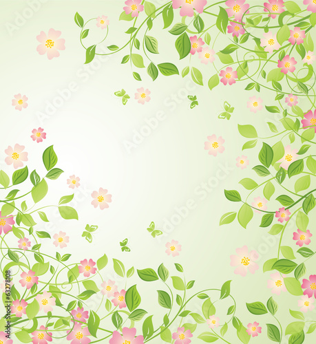 Background with blooming tree