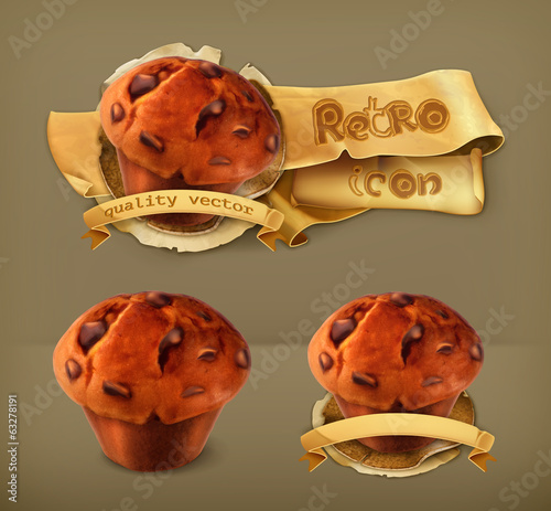 Muffin, retro vector icon