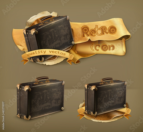 Old suitcase, retro vector icon