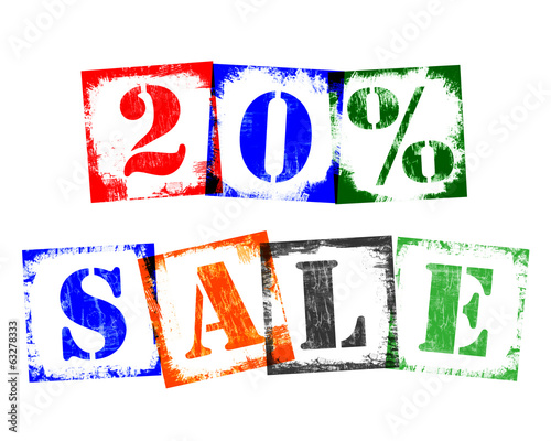 20 Percent Sale from Stamp Letters, Retro Grunge Design