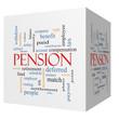 Постер, плакат: Pension 3D cube Word Cloud Concept