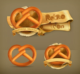 Pretzel, retro vector icon