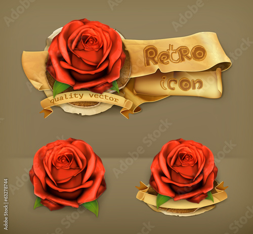 Red rose, retro vector icon