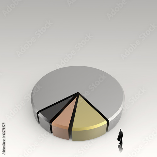 businessman walking to 3d Pie chart, made of different colors as