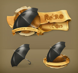 Umbrella, retro vector icon