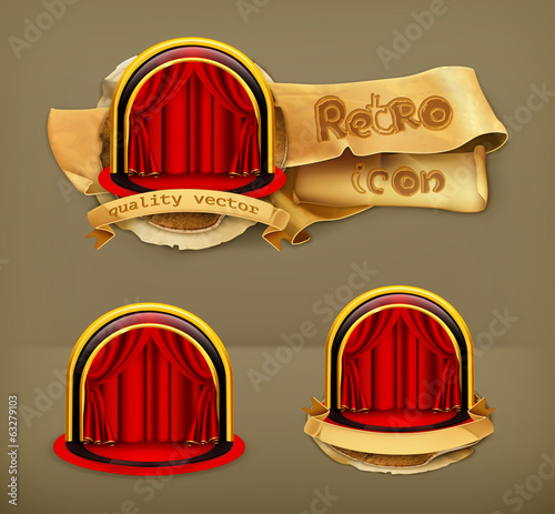 Theatre Stage, retro vector icon