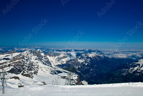 Titlis panorama above Truebsee in winter, Engelberg, Switzerland