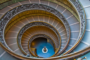 spiraling stairs in Vatican museum