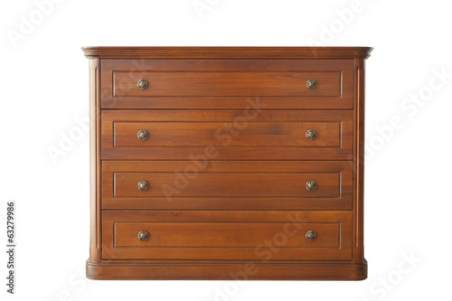 Brown cabinet of wood isolated on white background