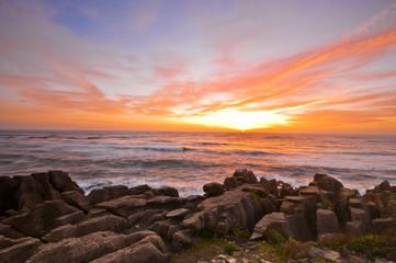 Sun Set Grand Canyon Pancake rock at west coast of New Zealand