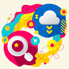 Magnifier and cloud on abstract colorful splashes background wit