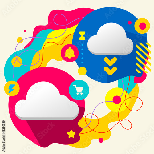 Clouds on abstract colorful splashes background with different i