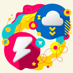 Lightning and cloud on abstract colorful splashes background wit
