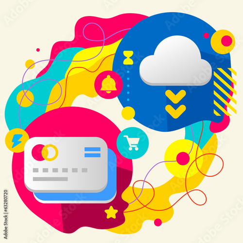 Bank cards and cloud on abstract colorful splashes background wi