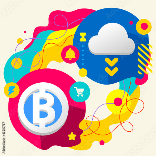 Bit coin and cloud on abstract colorful splashes background with