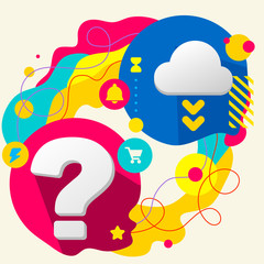 Question mark and cloud on abstract colorful splashes background