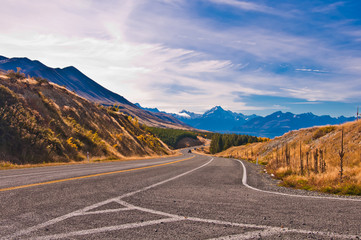 Scenic mountain road in the Southern Alps of the South Island of