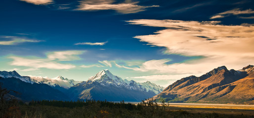 New Zealand scenic mountain landscape shot at Mount Cook Nationa