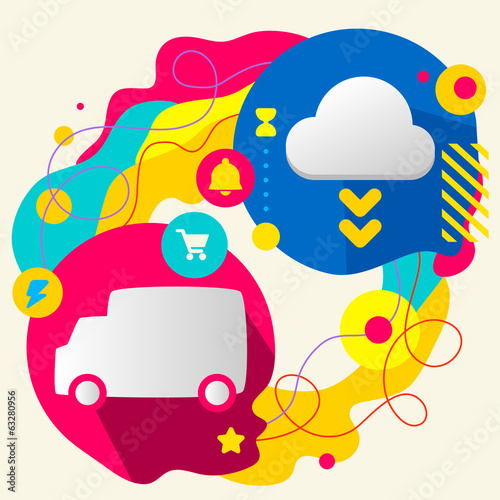 Truck and cloud on abstract colorful splashes background with di