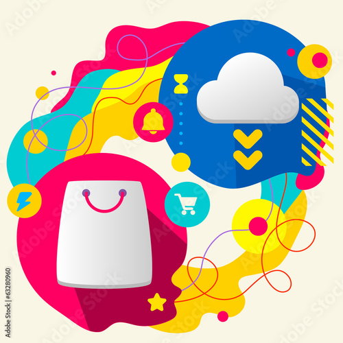 Shopping bag and cloud on abstract colorful splashes background