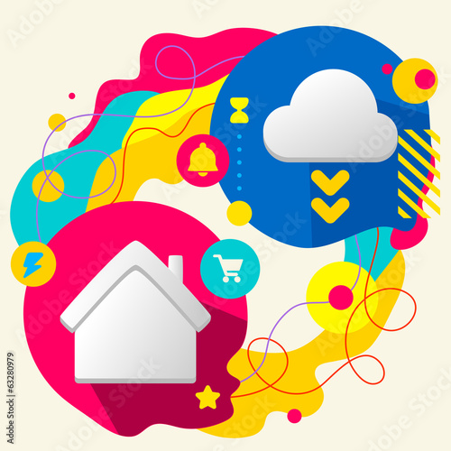 House and cloud on abstract colorful splashes background with di