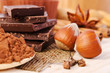 chocolate, spices and nuts- sweet food
