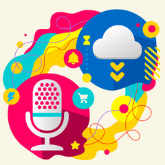 Microphone and cloud on abstract colorful splashes background wi