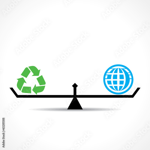 recycle symbol and global , go green and save earth