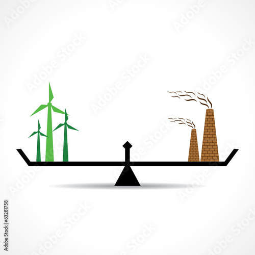 Illustration of comparison of ecology and pollution