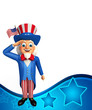 Illustration of Uncle Sam is doing salute
