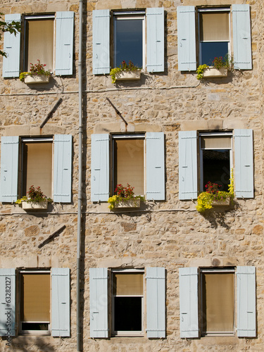 Typical French windows in the small village Jaujac, France
