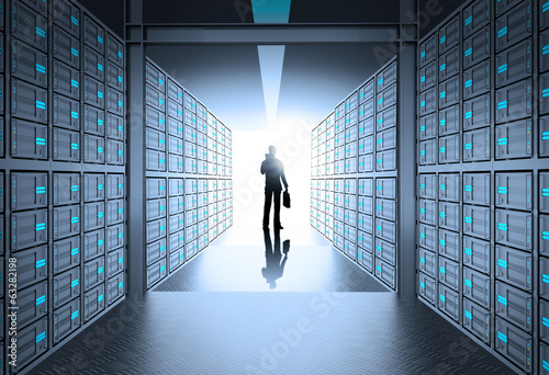 engeneer business man in 3d network server room as concept
