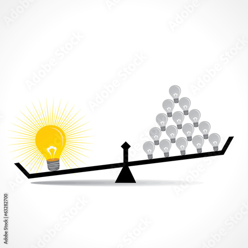 many small idea compare with big idea concept vector