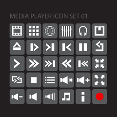 media player flat style  icon set