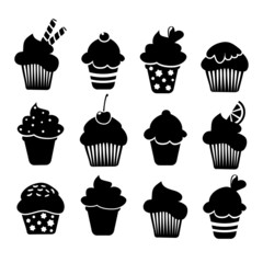 Set of black cupcakes icons, vector isolated  illustrations
