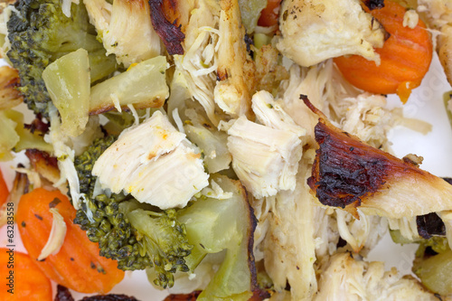 Cooked Chicken Veggies White Plate Close View