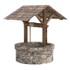 realistic 3d render of medieval well