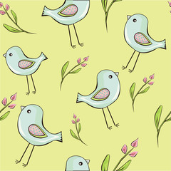 cute birds with flowers seamless background