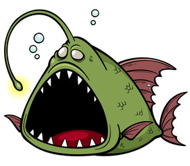 Vector illustration of angry fish cartoon