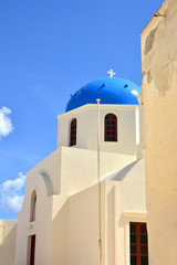The temple on the island of Santorini, Greece