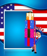 Illustration of Uncle Sam with gifts