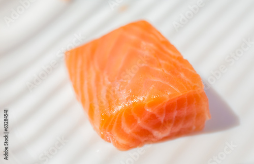 Three pieces of salmon